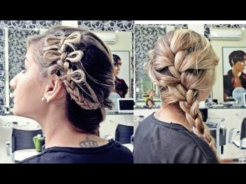 Penteado, formatos de laços na lateral + trança embutida Por Pamella Rocha