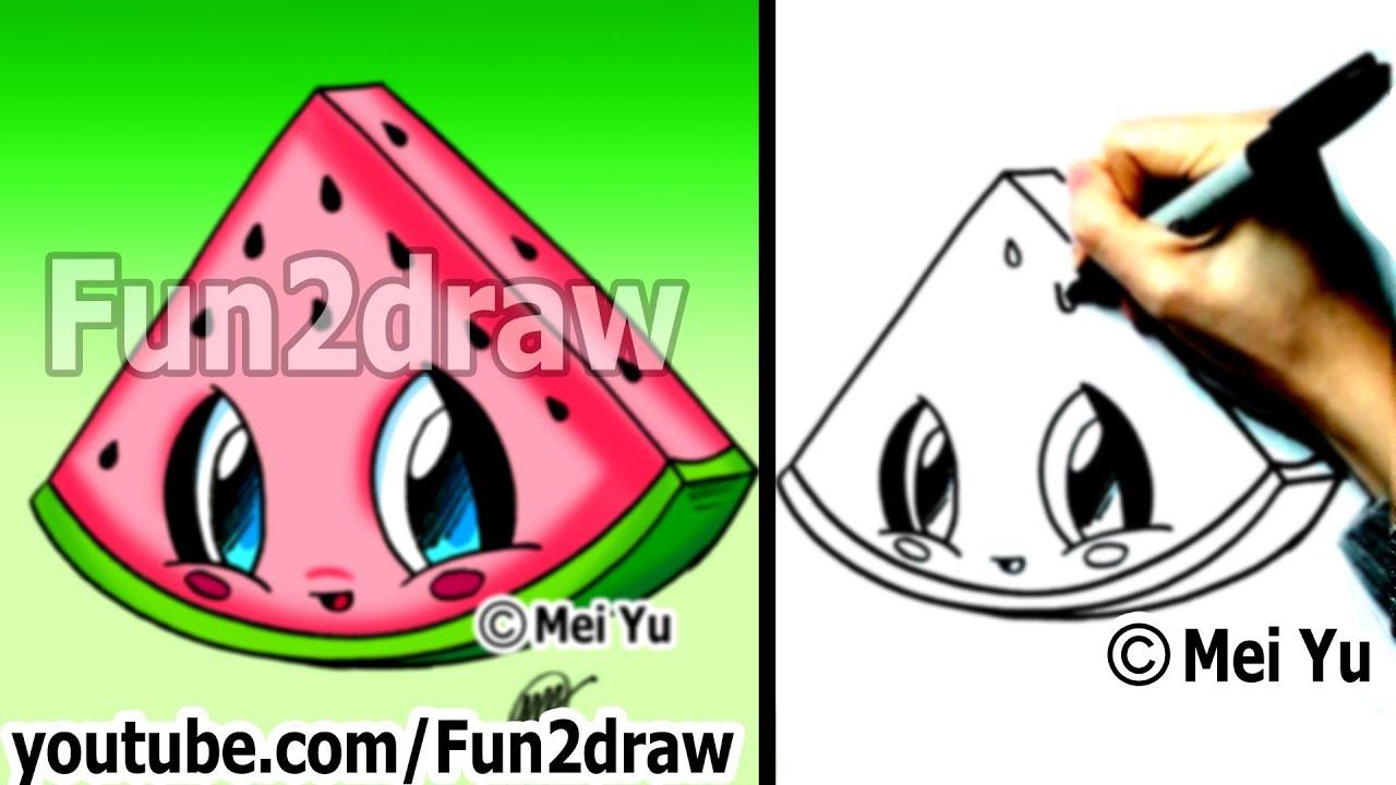 kawaii food how to draw food watermelon popular