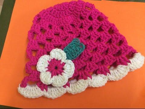 Móc mũ len cho bé gái  How to crochet a baby girl hat