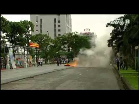 VTC14_Hải Phòng: Huy động 15 xe cứu hỏa diễn tập chữa cháy nhà cao tầng