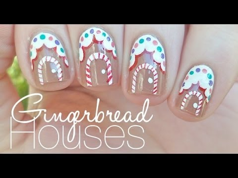 Gingerbread House Nail Art