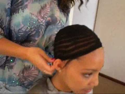 How to Sew in Celebrity Cap Weave , Live Demo! Step by step - YouTube