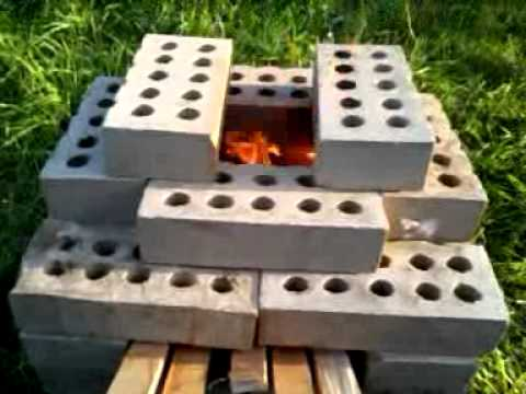 Brick rocket stove youtube for How to make a rocket stove with bricks