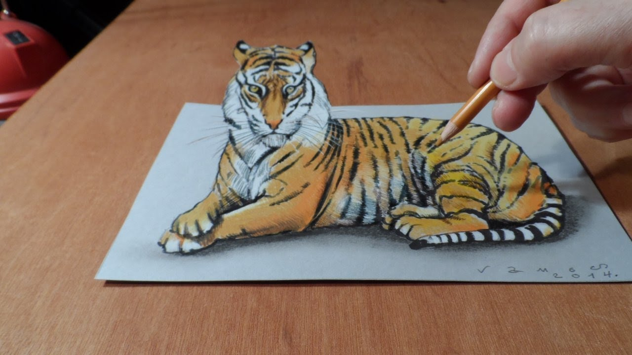 Trick Art Watch My Draw A 3d Tiger Time Lapse Youtube