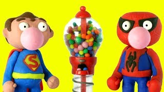 Superheroes Gumball machine cartoon 💕 Play Doh Stop motion videos for kids