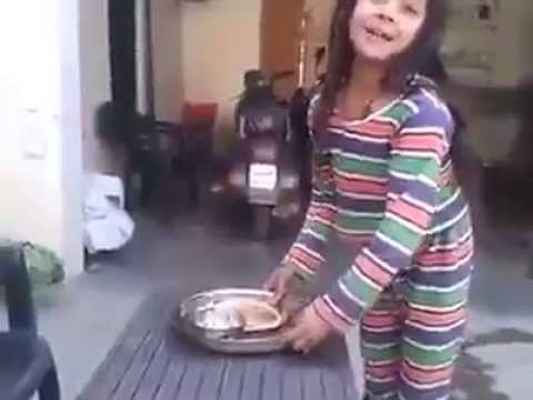 Girl serving food to his uncle (Funny)