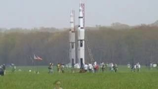 Saturn V scale model rocket launch 480p