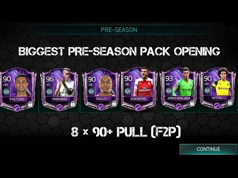 BIGGEST PRE-SEASON PACK OPENING IN FIFA MOBILE 18 | PART - 2 (8× 90+ PULLED)
