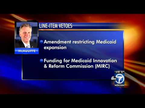 Virginia Gov. Terry McAuliffe announces several line-item vetoes in budget, vows to expand Medicaid