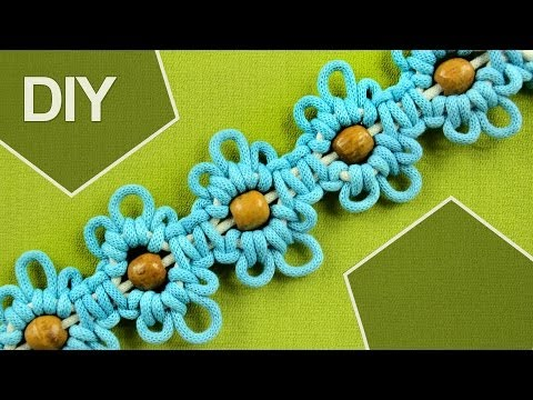 Macrame Flower motif with Beads in center / Tutorial 2