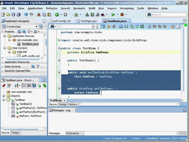 Oracle ADF Training | Create Oracle ADF Rich Component Programmatically from Managed Bean using PPR
