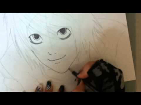 Drawing L from death note (ryuzaki ), http://2jass21.deviantart.com/ sup ppl :) i hope you liked the video not a huge improvement yet way better from the first video. L is just asdfghjkl; fav ani...