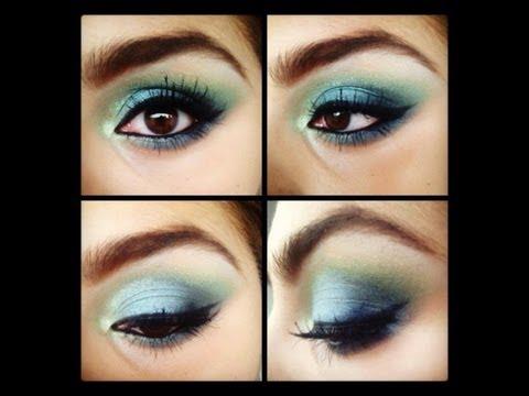 Tutorial de Maquillaje azul y verde neón♡