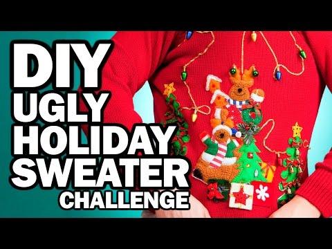 DIY Ugly Holiday Sweater Challenge - Man Vs Corinne Vs Pin