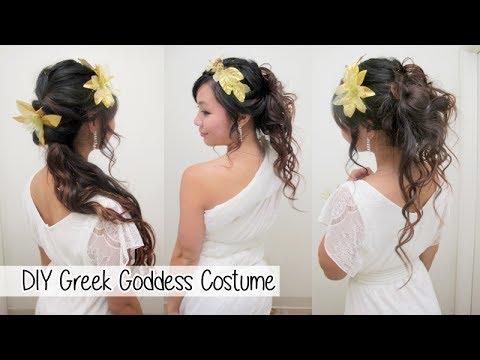 Diy greek goddess costume l hair accessories amp no sew toga youtube