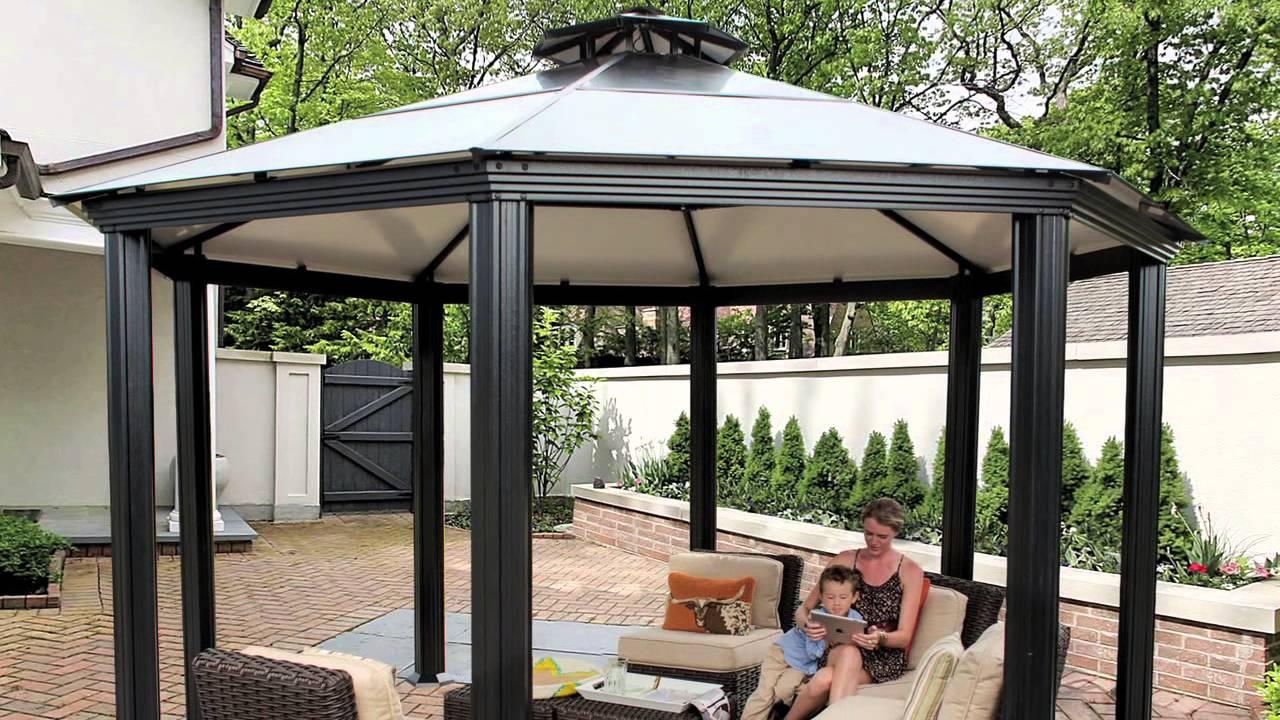 Monte carlo octagonal 14 39 x 14 39 aluminum roof gazebo for Pergola aluminum x