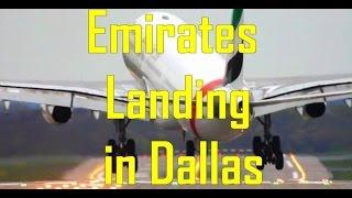 Emirates EK 221 Flight From Dubai Landing In Dallas