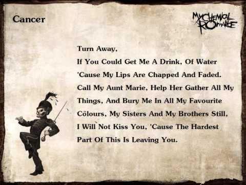 My Chemical Romance Cancer Lyrics YouTube