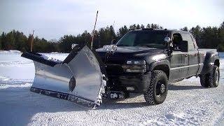 Snow Plowing Silverado 3500 With Snowdogg V Plow Pushing