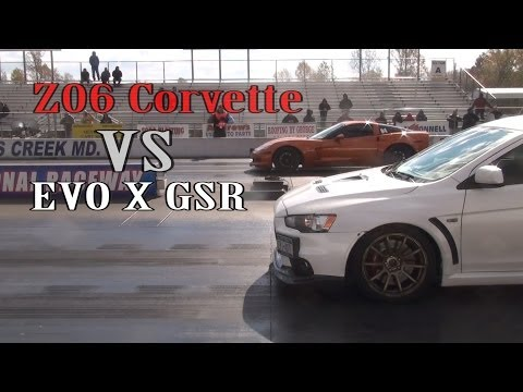 Z06 Corvette vs EVO X GSR drag racing at D.O.R 2