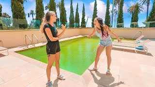 I turned the pool GREEN! Prank on Sister