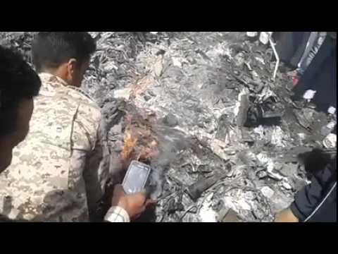 """بالفيديو :موقع سقوط الطائرة """"الميغ 23 """"التابعة لفجر ليبيا بالرجبان"""