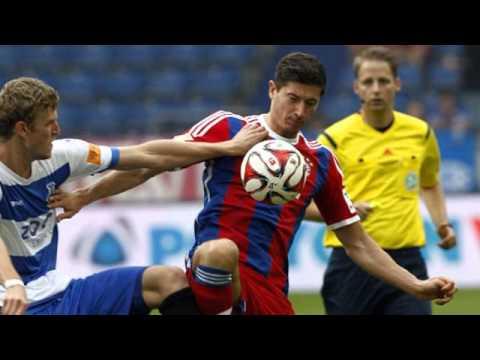 Robert Lewandowski scores for Bayern Munich in..