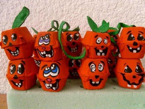 Halloween calabazas de carton de huevo egg carton - Decorar calabazas infantiles ...