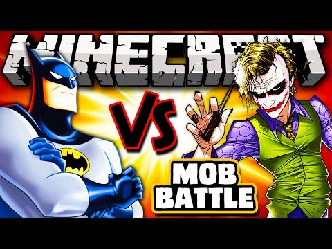 BATMAN VS CORINGA -  Minecraft Batalha de Mobs - Superheroes Unlimited Mod