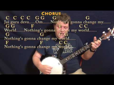 Across the Universe (The Beatles) Banjo Cover Lesson in C with Chords/Lyrics