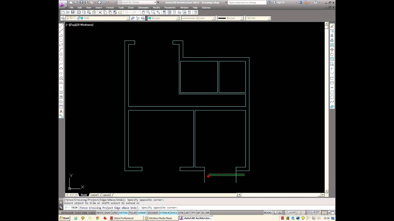 Autocad how to draw a basic architectural floor plan from Simple 2d cad