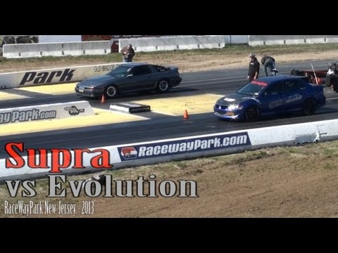 Jump start Supra  vs Evolution drag race