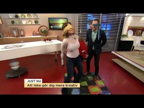 Se Tilde och Peter leka blindbock - med rumpknuff - Nyhetsmorgon (TV4)