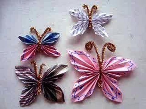 How to fold a Paper Butterfly, Simple Kids Crafts, paper folding, paper crafts, group activity