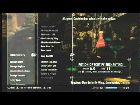 how to make fortify enchanting potion skyrim