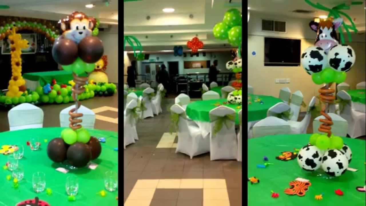 Jungle theme balloon decoration youtube for Balloon decoration ideas youtube
