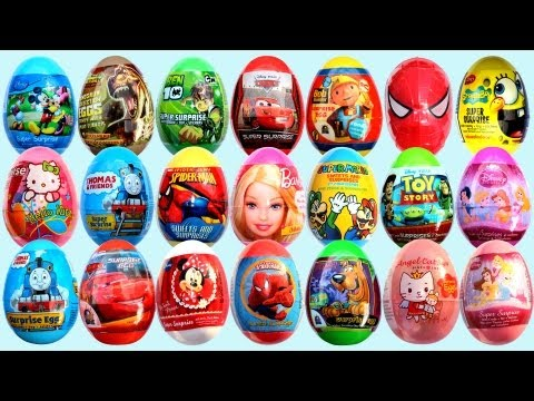 24 Surprise Eggs Kinder Surprise Mickey Mouse Cars 2 Minnie Mouse Spongebob
