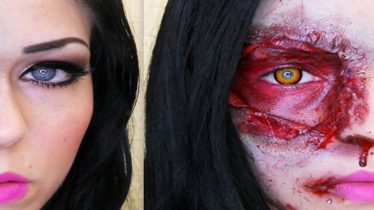 Zombie Half Face | Halloween Makeup - YouTube