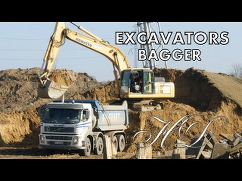Máy xúc làm việc - รถขุดในการดำเนินการ - Excavator in action - Bagger