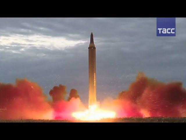 Центральное телевидение КНДР показало кадры испытания баллистической ракеты «Хвасон-12»