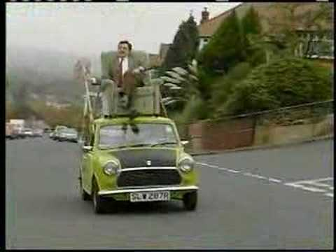 Mr. Bean Video - Mr. Bean driving on roof of a car, This video is absolutely hilarious. It shows Mr. Bean driving his Mini Cooper with a broom! I laugh everytime I watch this video. This video is of profession...