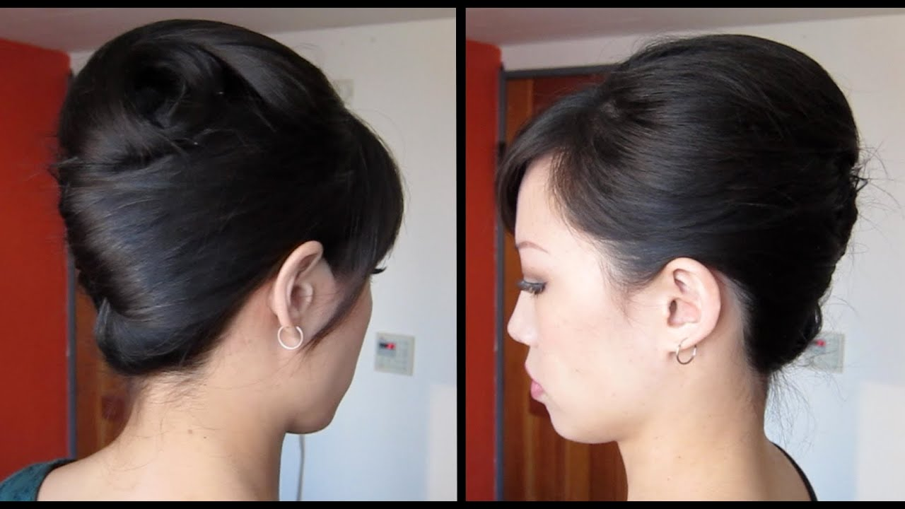 French twist tutorial updo for long, thick hair - YouTube