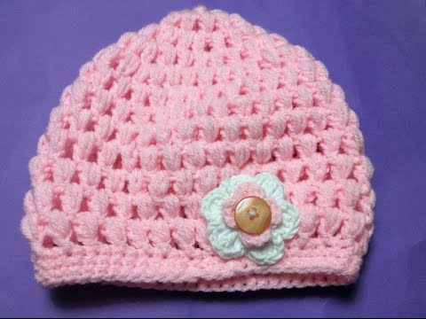 Móc mũ len mẫu 2 - How to crochet a puff stitch hat