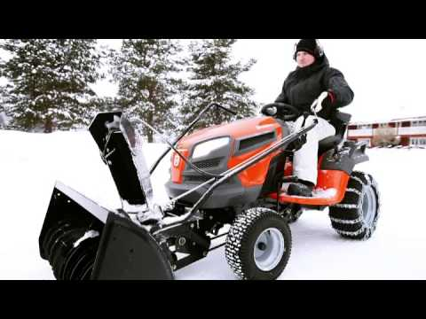 Husqvarna Yth Tractor With Two Stage Snow Thrower Youtube