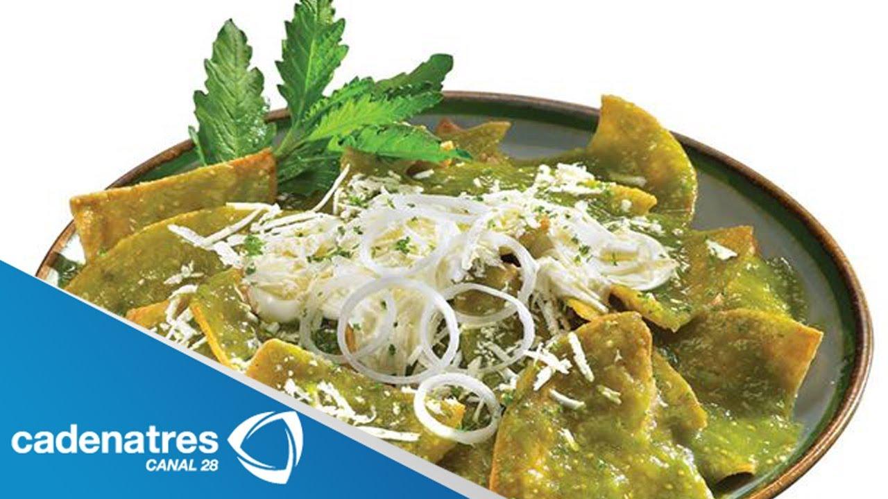 Chilaquiles verdes con pollo / Receta de Chilaquiles / Receta de ...