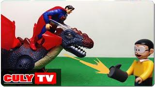 đồ chơi Doremon chế hài - siêu nhân Superman bị nobita bắn súng thần công khủng long bay hồi sinh