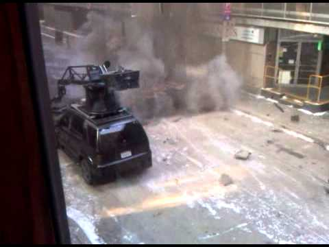 Pittsburgh Batman Dark Knight Tumbler drives into blown up hole in road