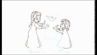 How To Draw Little Elsa And Anna As Kids Building A