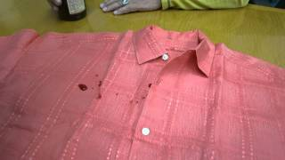See wine spilled on a Tommy Bahama linen shirt. NO STAINS, NO MARKS, NO WETNESS, NO NOTHING! CHECK OUT THE VIDEO CLICK HERE