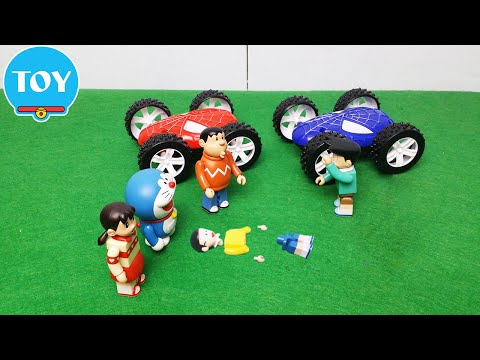 Chaien và Xeko đua xe người nhện đụng Nobita banh chành - hoạt hình doremon chế đồ chơi trẻ em